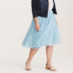 NWT Torrid Lace Midi Skirt 4X Cashmere Blue